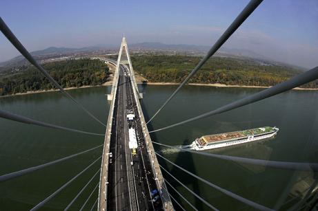 Newly Constructed Megyeri Bridge in Budapest, Hungary.  Courtesy of National Geographic.