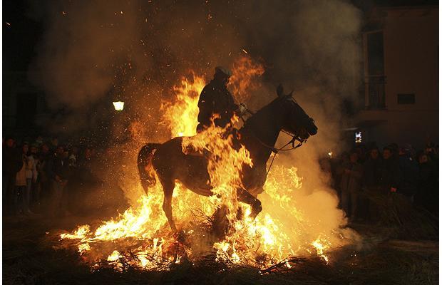 man-on-horse-in-bonfire-in-spain
