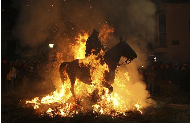 man-on-horse-in-bonfire-in-spain