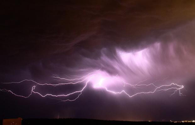 Lightning strikes across the desert skies of Needles, CA and Laughlin, NV