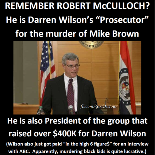 Robert McCulloch raised over $400K for Darren Wilson Girl Du Jour