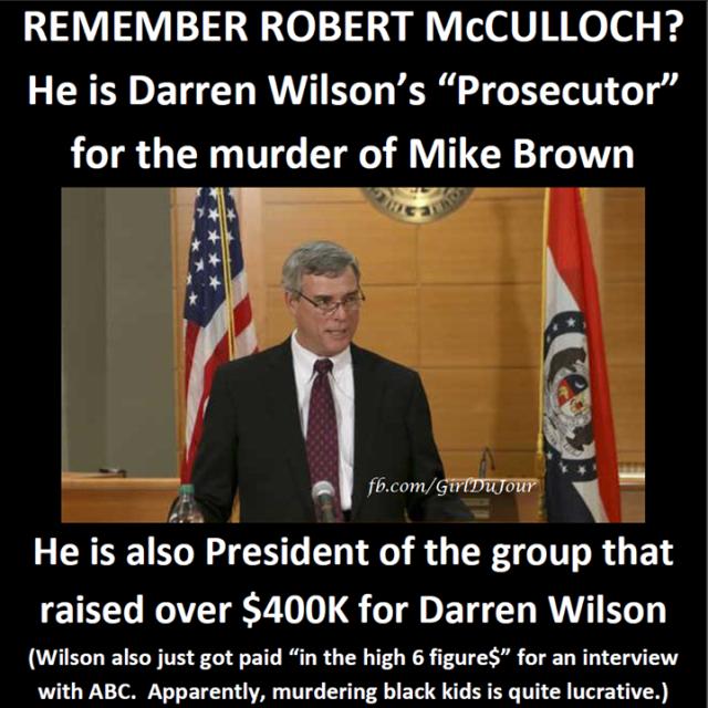 Robert McCulloch raised over $400K for Darren Wilson Girl Du Jour