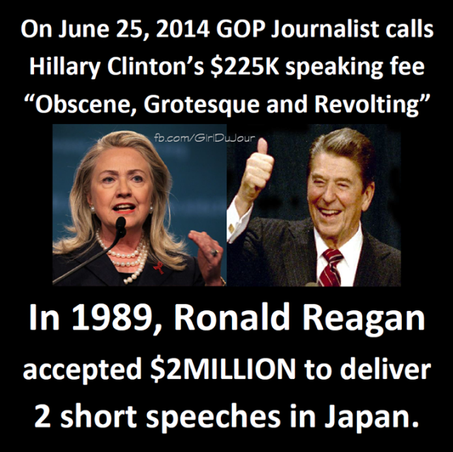 hillary v reagan speech fees GDJ